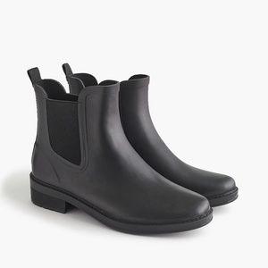 New JCREW Size 8 Chelsea Matte Rain Boots in Black